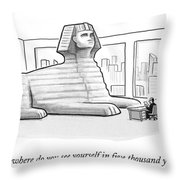 A Large Sphinx Sits In Front Of A Desk Throw Pillow