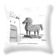 A Large Wooden Horse Throw Pillow