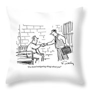 A Lawyer With A Briefcase Shakes The Hand Throw Pillow by Mike Twohy
