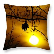 A Leaf Hanging On  Throw Pillow