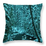 A Leaning Tree Over The Little Naches River Throw Pillow