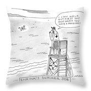 A Lifeguard Shouts At A Drowning Man Throw Pillow
