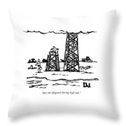 A Lifeguard Speaks To A Woman On The Beach.  Next Throw Pillow