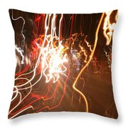 A Light Dance In Old Town Throw Pillow