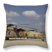 A Line Of Uh-60l Yanshuf Helicopters Throw Pillow