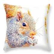 A Little Bit Squirrely Throw Pillow