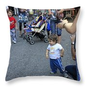 A Little Boy Dancing At The 200th Anniversary Of St. Patrick Old Cathedral Throw Pillow