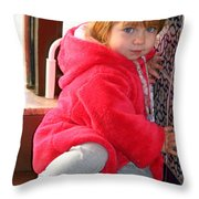 A Little Girl In Red Throw Pillow