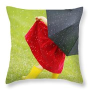 A Little Girl Walking In The Rain While Throw Pillow