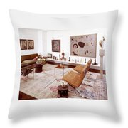 A Living Room Full Of Art Throw Pillow