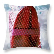 A Lobster Claw In Red Packaging Throw Pillow