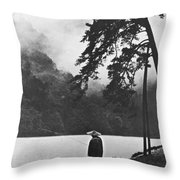 A Lone Japanese Fisherman Throw Pillow