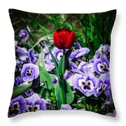 A Lone Tulip Throw Pillow