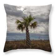 A Lonely Palm Tree Throw Pillow
