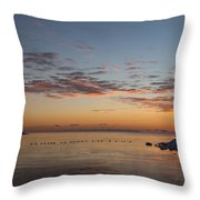 A Long Line Of Canada Geese At Sunrise Throw Pillow
