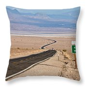 A Long Road Through Death Valley Throw Pillow