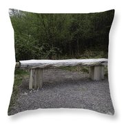 A Long Stone Section Over Wooden Stumps Forming A Rough Sitting Area Throw Pillow