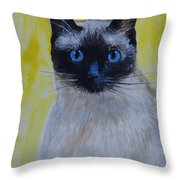 A Loving Siamese Throw Pillow by Leslie Allen