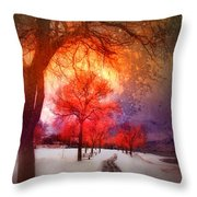A Magic Winter Throw Pillow