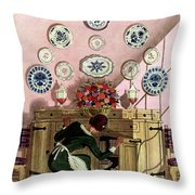 A Maid Getting China From A French Provincial Throw Pillow