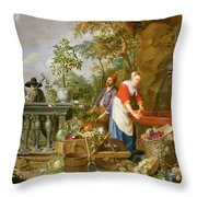 A Maid Washing Carrots At A Fountain Throw Pillow