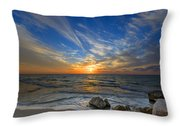 A Majestic Sunset At The Port Throw Pillow