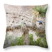 A Male Climber Runs Out The Traverse Throw Pillow