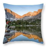 A Male Fly Fisherman In A Lake Throw Pillow