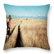 A Male Hiker In Montana Throw Pillow