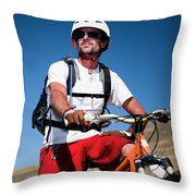 A Male Mountain Biker Stops To Enjoy Throw Pillow