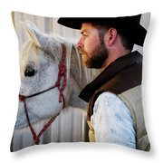 A Male Ranch Hand In A Cowboy Hat Throw Pillow