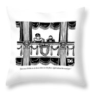 A Man And A Woman Are Sitting In The Balcony Throw Pillow