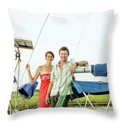 A Man And A Woman Embrace In Sailboat Throw Pillow
