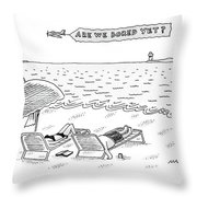 A Man And A Woman Lie Down On Reclined Beach Throw Pillow