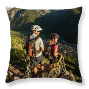 A Man And A Woman Looking At The View Throw Pillow