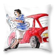 A Man And His Car And His Newspaper Throw Pillow