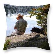 A Man And His Dog Throw Pillow