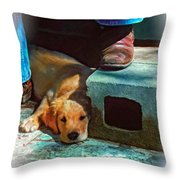 A Man And His Dog Oil Throw Pillow