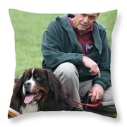 A Man And His Dog Throw Pillow