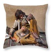 A Man And His Monkey - Varanasi India Throw Pillow