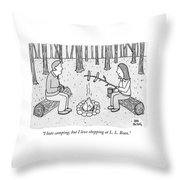 A Man And Woman Are Camping And The Woman Roasts Throw Pillow