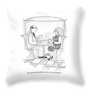 A Man And Woman Are Having Coffee Together Throw Pillow