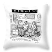 A Man And Woman Sit On A Couch In Their Living Throw Pillow by Roz Chast