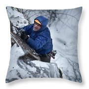 A Man Ascends A Dramatic, Challenging Throw Pillow