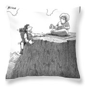 A Man Ascends A Mountain To Discover His Mother Throw Pillow