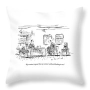 A Man Behind A Desk Gives The Man Sitting Throw Pillow