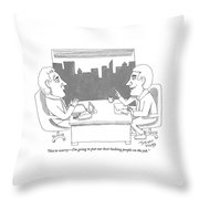 A Man Behind A Desk Speaks To Another Man In An Throw Pillow