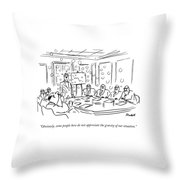A Man Blow Bubbles At A Meeting Throw Pillow