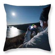 A Man Captures The Full Moon Throw Pillow