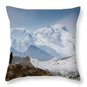 A Man Contemplates The Size Of Kanchenjunga Throw Pillow